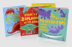 There's a dinosaur (or four) coming through the letterbox!