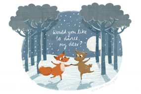 Fox and Deer Christmas Card